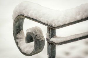 handrail with snow